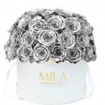 Mila-Roses-01562 Mila Classique Large Dome White - Metallic Silver
