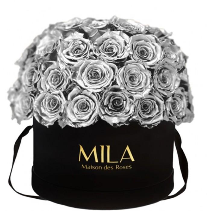 Mila Classique Large Dome Black - Metallic Silver
